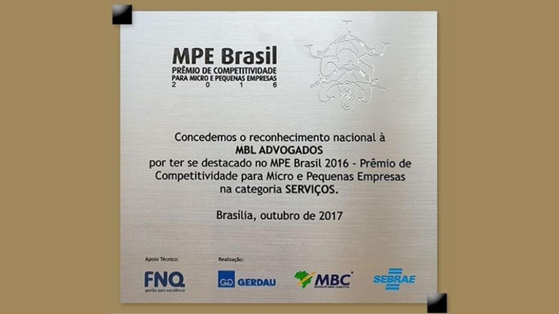 MBL Advogados é destaque no MPE Brasil – Prêmio de Competitividade para Micro e Pequenas Empresas